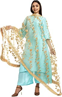 The Home Factory Women's Net and Lace Gota Patti Dupatta with Fancy Heavy Border (THF229, Golden, Free Size)
