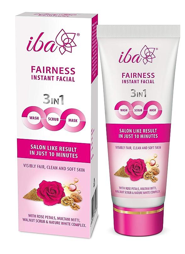 カセットジュラシックパーク抵抗Iba Halal Care Fairness Instant Facial (3in1 Mask Scrub Facial Wash), 100g