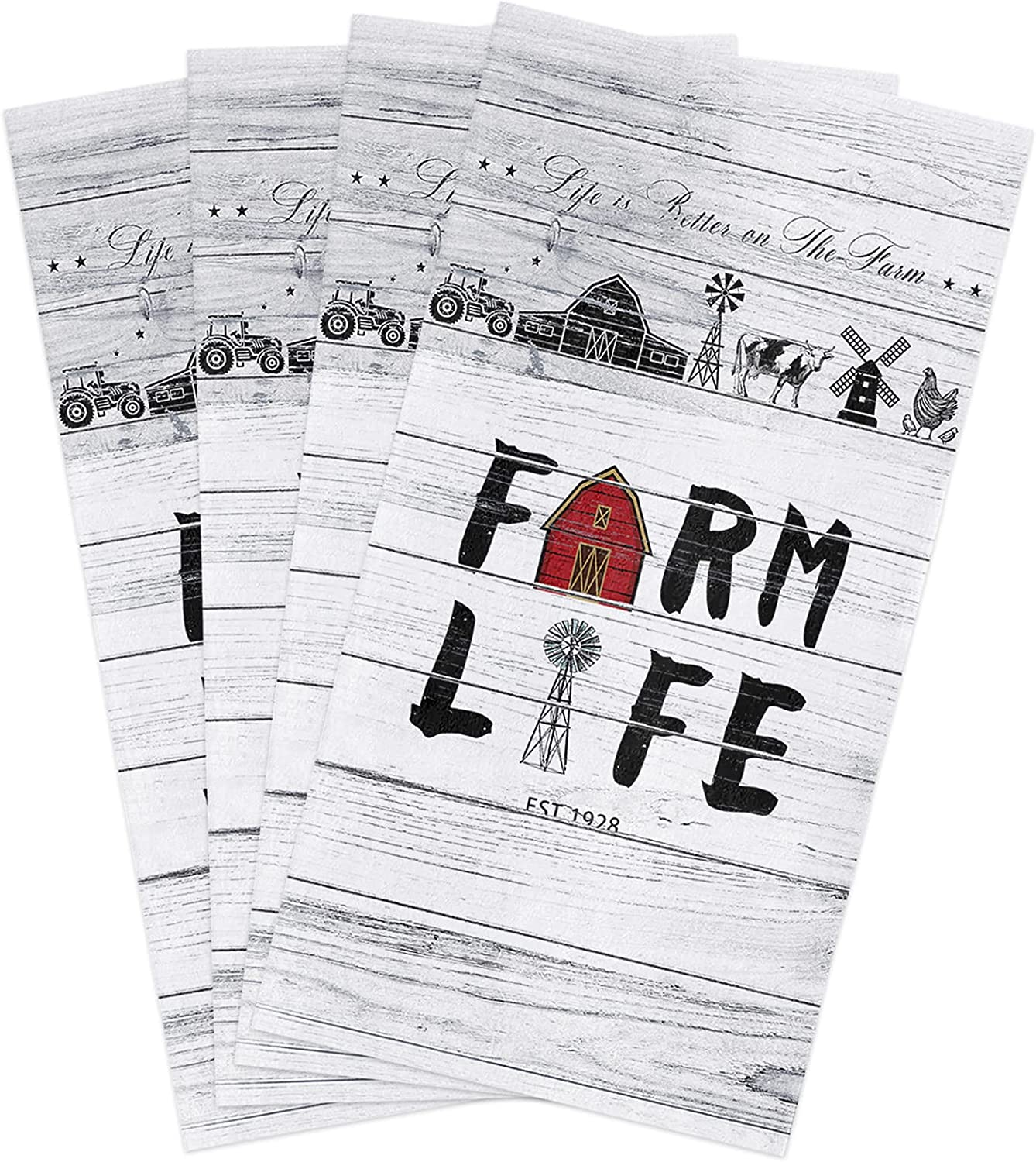 Kitchen Towels Set Farm Life Dish Retro Barn Farmhouse Over Selling and selling item handling ☆ Red Towel