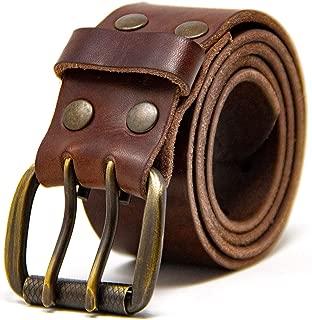 Men's Work Belt - Heavy Duty Genuine Full Grain Leather Double Prong Belts