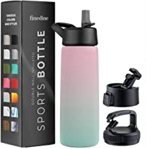 Triple Insulated Stainless Steel Water Bottle with Straw Lid - Flip Top Lid - Wide Mouth Cap (26 oz) Insulated Water Bottl...