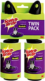 Scotch-Brite Pet Hair & Lint Roller, Twin Pack, Works Great on Dog, cat, and Other Animal Hair, Sticky, 2 Rollers, 56 Sheets Per Roller, 112 Sheets Total