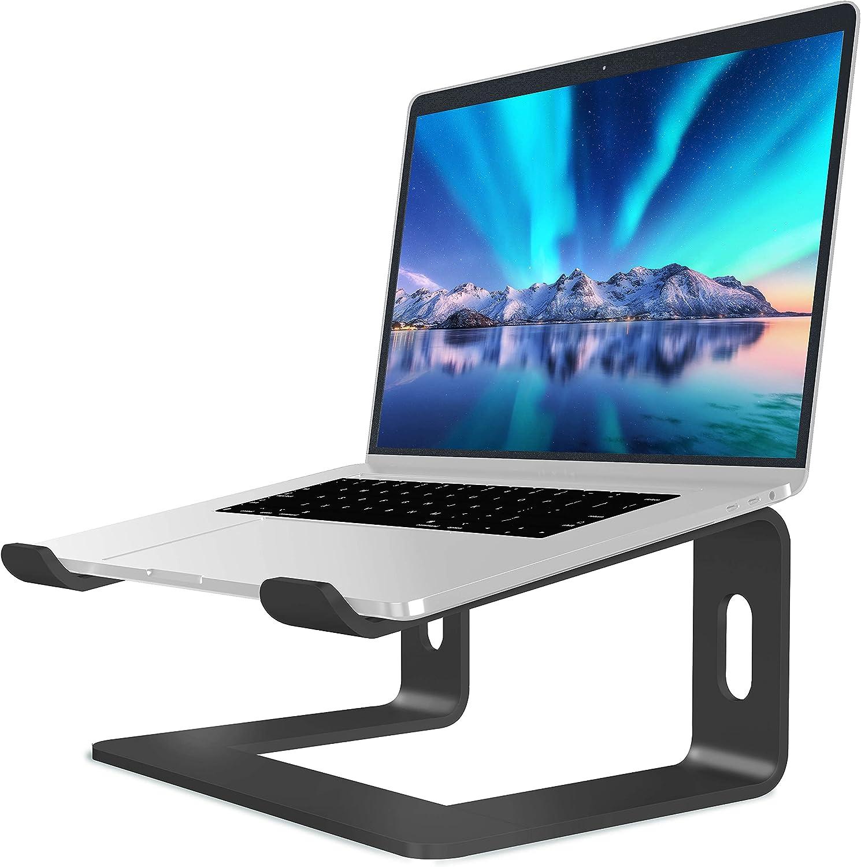 SOUNDANCE Soporte para Portátil, Soporte Ordenadores Portátiles, Soporte para Laptop de Aluminio, Bases de Portátiles para MacBook Notebook PC, Mesa para Ordenador para 10-15,6 Pulgadas Laptop, Negro