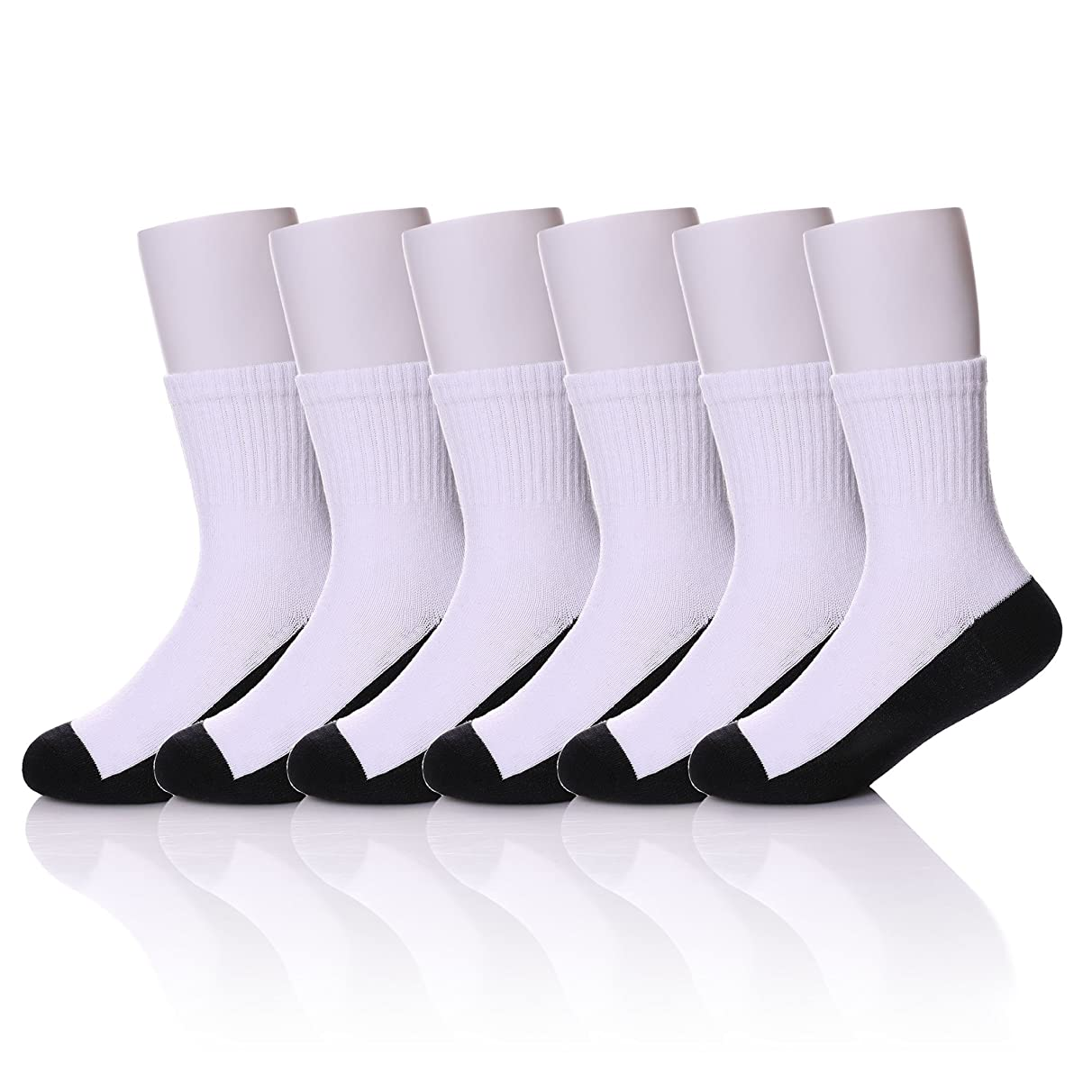 MIUBEAR 6 Pack Unisex Toddler Big Boys Girls Athletic Ribbed Cotton Classic Crew School Socks 3-16 Years Old