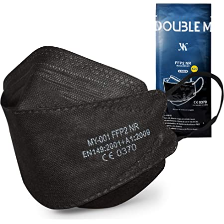 DOUBLE M Mascarillas FFP2 NR Certificación CE 0370 Uso No Médico 3, 5, 10, 20, 50 o 100 pcs,filtración ≥ 95%, comoda ligera, Filtro Multicapa, Uso Personal, Mascarillas Facial Protección