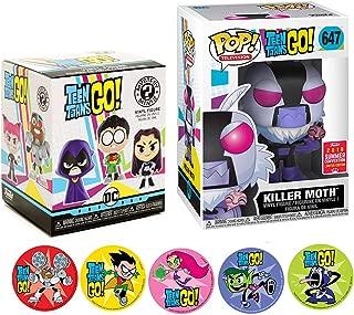 Funko Vinyl Mini Titans Go Character Teen Titans Killer Moth Figure & Blind Box Series Adventure Cartoon Toy Super Pop Exclusive + Action Stickers! Robin, Starfire, Raven, Beast Boy & Cyborg 3 Items