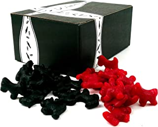 Gimbal's Licorice Scottie Dogs 2-Flavor Variety: One 1 lb Bag Each of Black and Red in a BlackTie Box (2 Items Total)