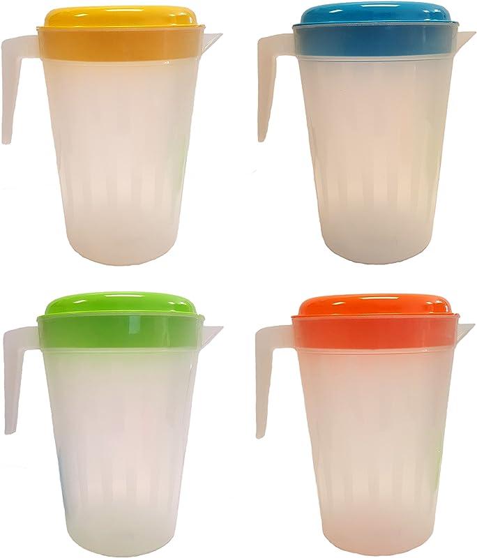 Set Of 4 Plastic 3 Quart Pitchers With Lids 5 Assorted Colors 4