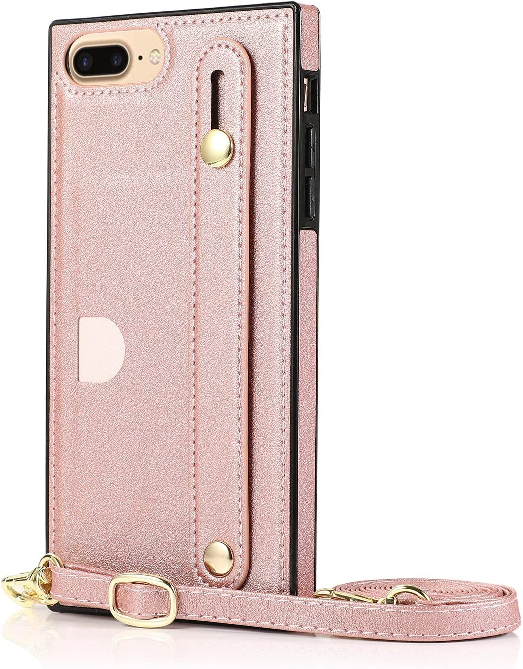SLDiann Case for iPhone 7/8 Plus, Leather Case with Credit Card Slot Non-Slip Buckle Holder/Crossbody Long Lanyard, Shockproof Leather TPU Case Cover for iPhone 7/8 Plus (Color : Rosegold)