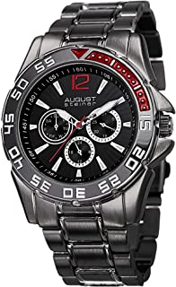 August Steiner Men's AS8077BK Quartz Multifunction Black Dial Black Bracelet Watch