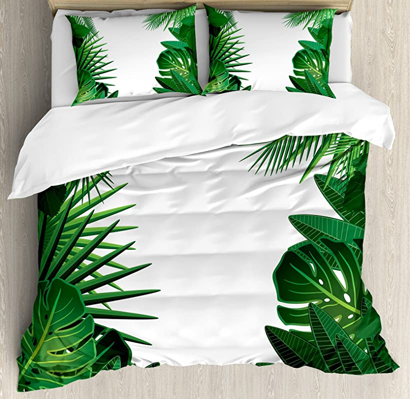 Ambesonne Leaves Duvet Cover Set Queen Size, Exotic Fantasy Hawaiian Tropical Palm Tree Leaves with Stylish Floral Graphic Art Theme, A Decorative 3 Piece Bedding Set with 2 Pillow Shams, Green White