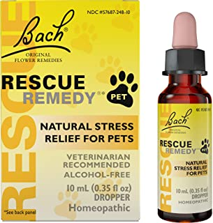 Bach RESCUE REMEDY PET Dropper, 10mL – Natural Homeopathic Stress Relief Drops for Pets, Bach Rescue Remedy Pet, 10 ml (04...