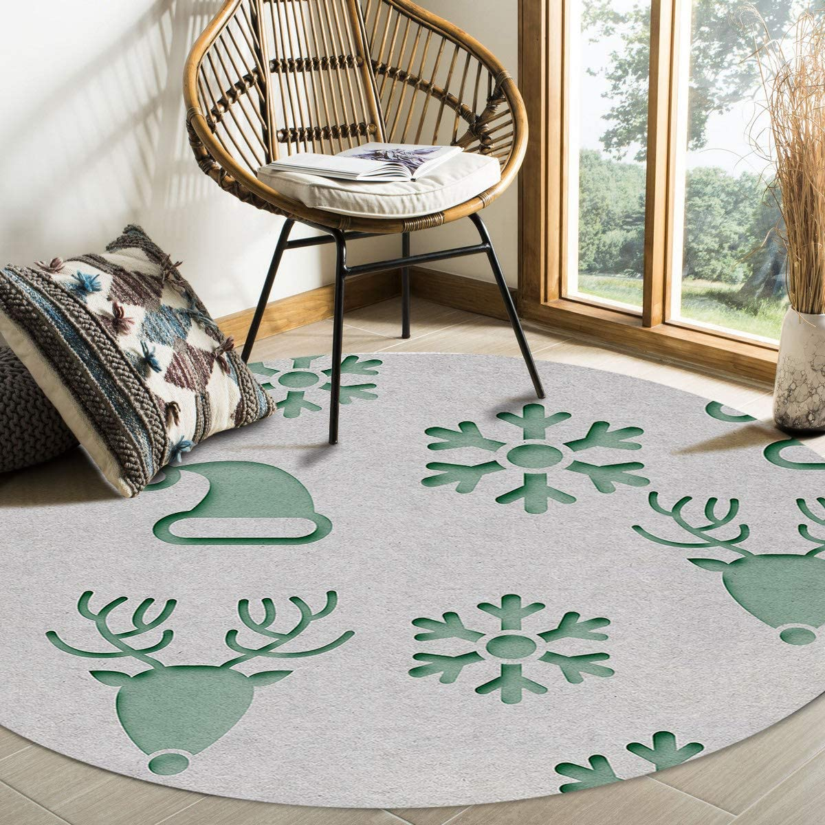 Olivefox Round Area Rugs Complete Free Shipping Christmas and Santa Green Hat Tulsa Mall Snowflake