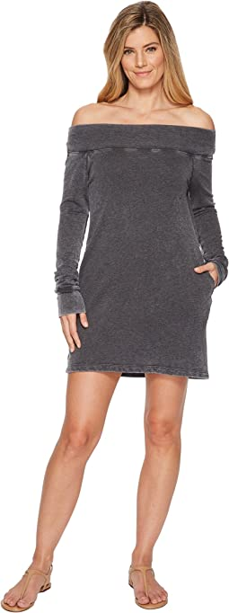 Allen Allen - French Terry Long Sleeve Off the Shoulder Dress