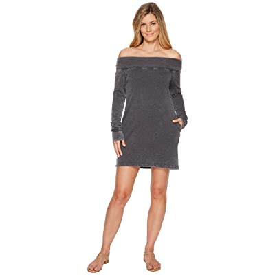Allen Allen French Terry Long Sleeve Off the Shoulder Dress (Black) Women