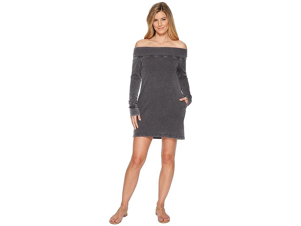 Allen Allen French Terry Long Sleeve Off the Shoulder Dress (Black) Women