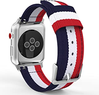 MoKo Compatible Band Replacement for Apple Watch 38mm 40mm Series 5/4/3/2/1, Fine Woven Nylon Adjustable Replacement Band Sport Strap - Blue & White & Red (Not fit 42mm 44mm Versions)