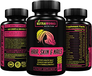 Hair, Skin & Nails Supplement - Premium Hair Growth Formula for Longer, Stronger, Healthier Hair - Scientifically Formulated with Biotin, Bamboo, Peony & More - for All Hair Types - 60 Veggie Caps