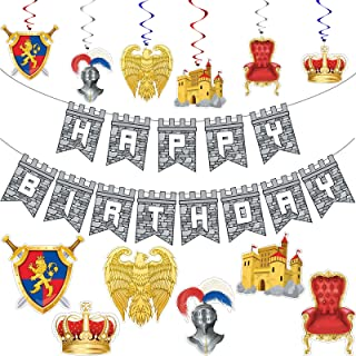 25 Pieces Medieval Birthday Banner Medieval Castle Party Supplies Knight Birthday Decorations Medieval Whirls Hanging Deco...