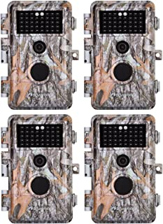 """4-Pack Game Trail Deer Cameras 16MP 1080P for Hunting Wildlife No Glow Infrared Night Vision Time Lapse Motion Activated IP66 Waterproof & Password Protected, Photo & Video Model, 2.4"""" LCD, Time Stamp"""