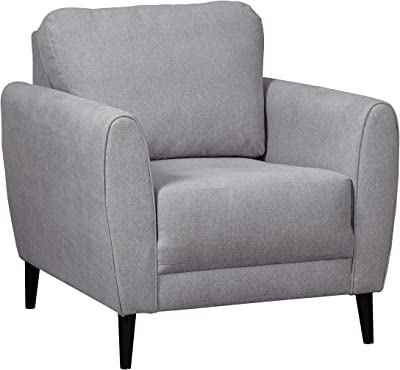 Benjara Transitional Fabric Upholstered Wooden Chair with Tapered Legs, Gray