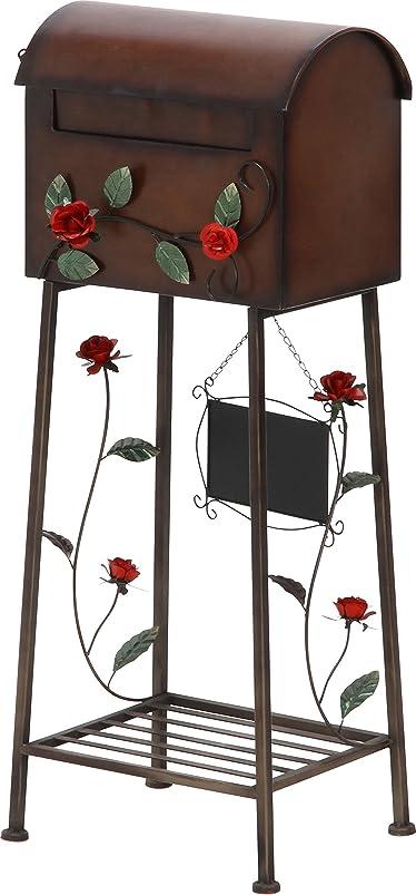 麻痺虚弱大破不二貿易 メールボックス ローズ 横型 ブラウン 棚付き 黒板付き 96761