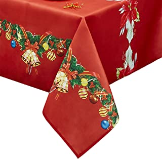 Obstal Rectangle Christmas Table Cloth, Oil-Proof Spill-Proof and Water Resistance Tablecloth, Decorative Fabric Table Cover for Outdoor and Indoor Use (60 x 84 inch, Flower)