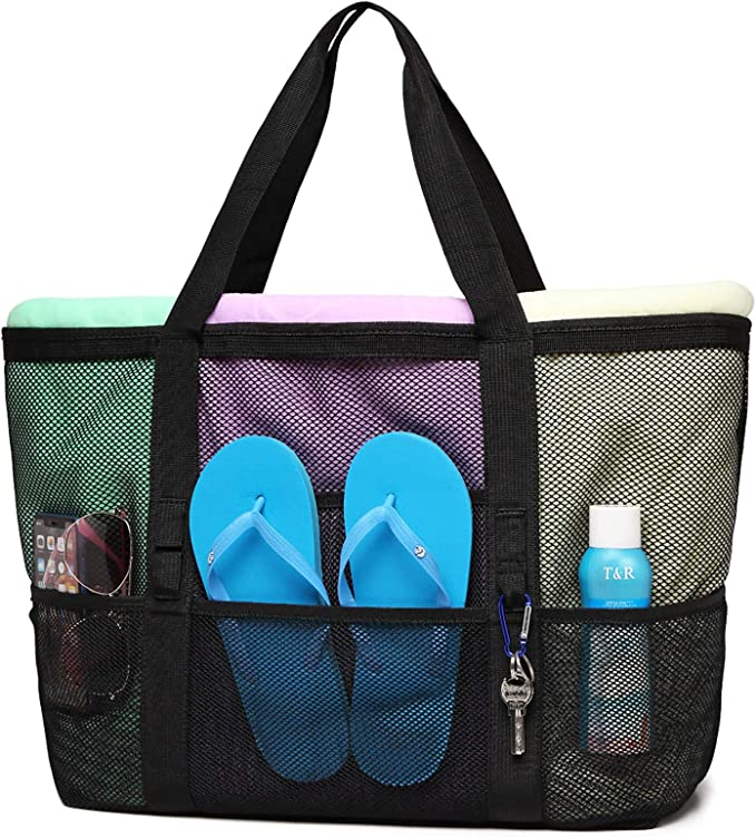 Cambond Mesh Beach Bag, Large Beach Tote Bag with Zipper and Multiple Pockets for Beach, Picnic