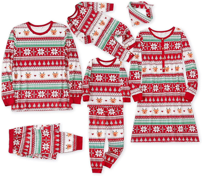 IFFEI Matching Family Pajamas Sets Christmas Red Snowflake Print Long-sleeve Sleepwear