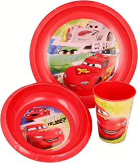 مجموعة ادوات المائدة ستور ايزي برسومات سيارات السباق ، 3 قطع ، لون احمر، مواد مختلفة