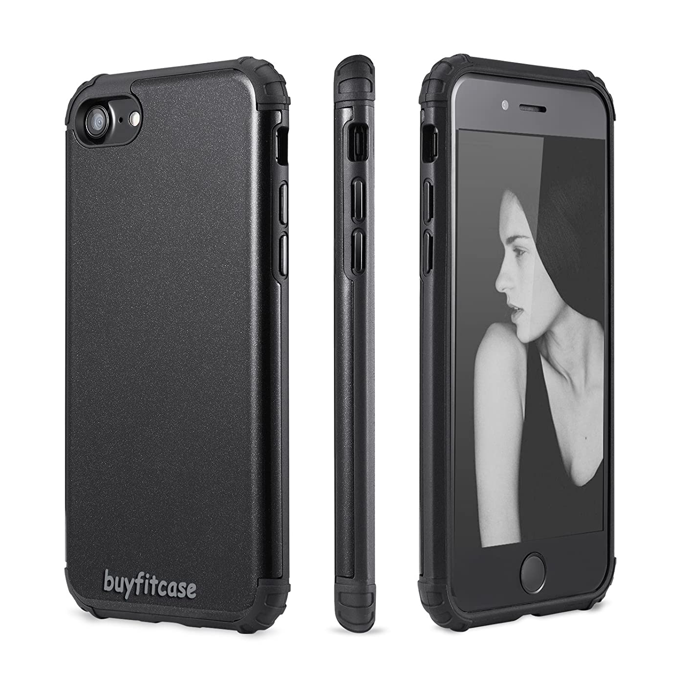 IIGOCG iPhone 7 Plus Case Heavy Duty Dual Layer Ultra Armor Shock Absorbing Case Integrated Magnetic Metal Case Cover With Free Screen Protector For iPhone 7 Plus,Black