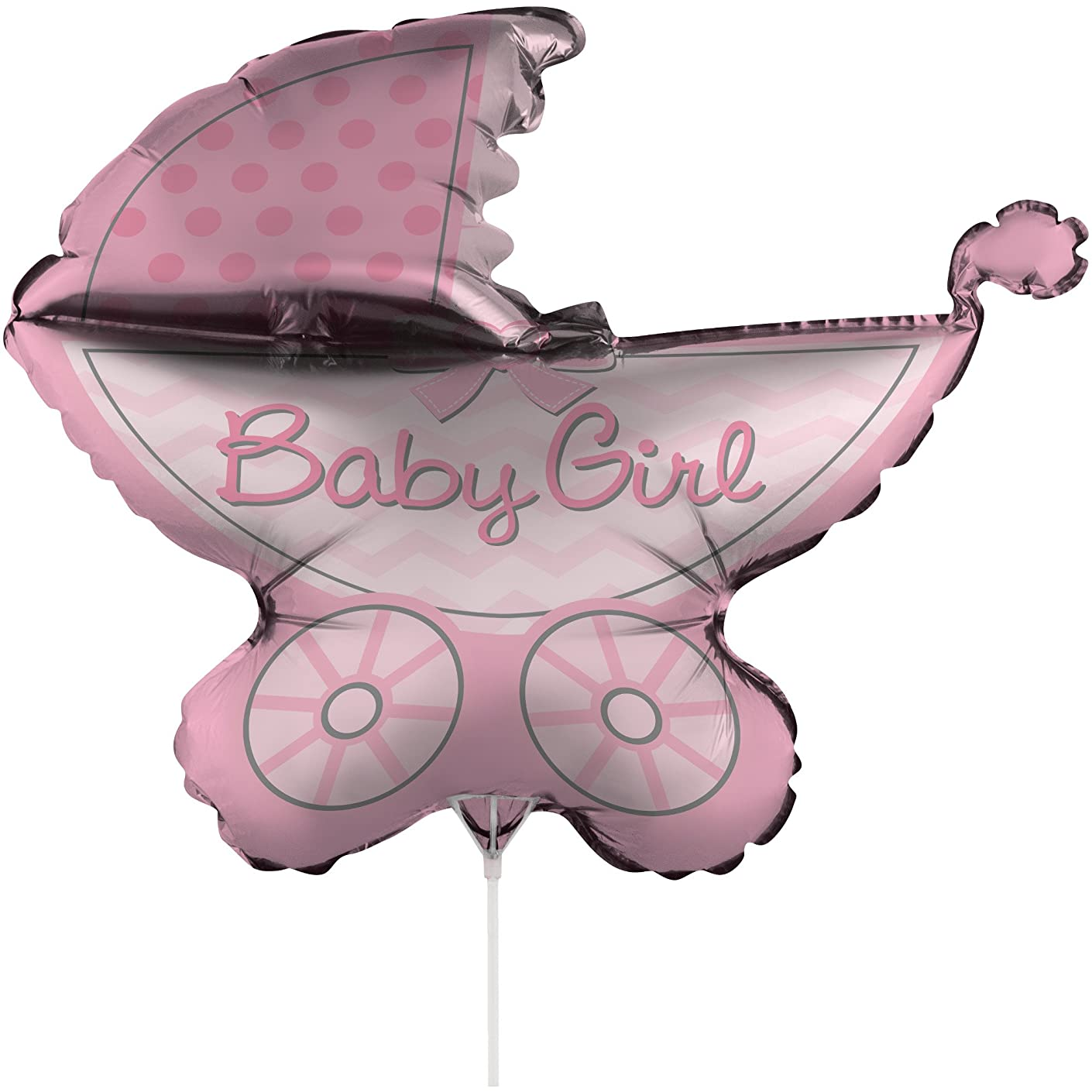 Creative Converting Air-Filled It's a Girl Stroller Balloon with Stick and Joiner, 30