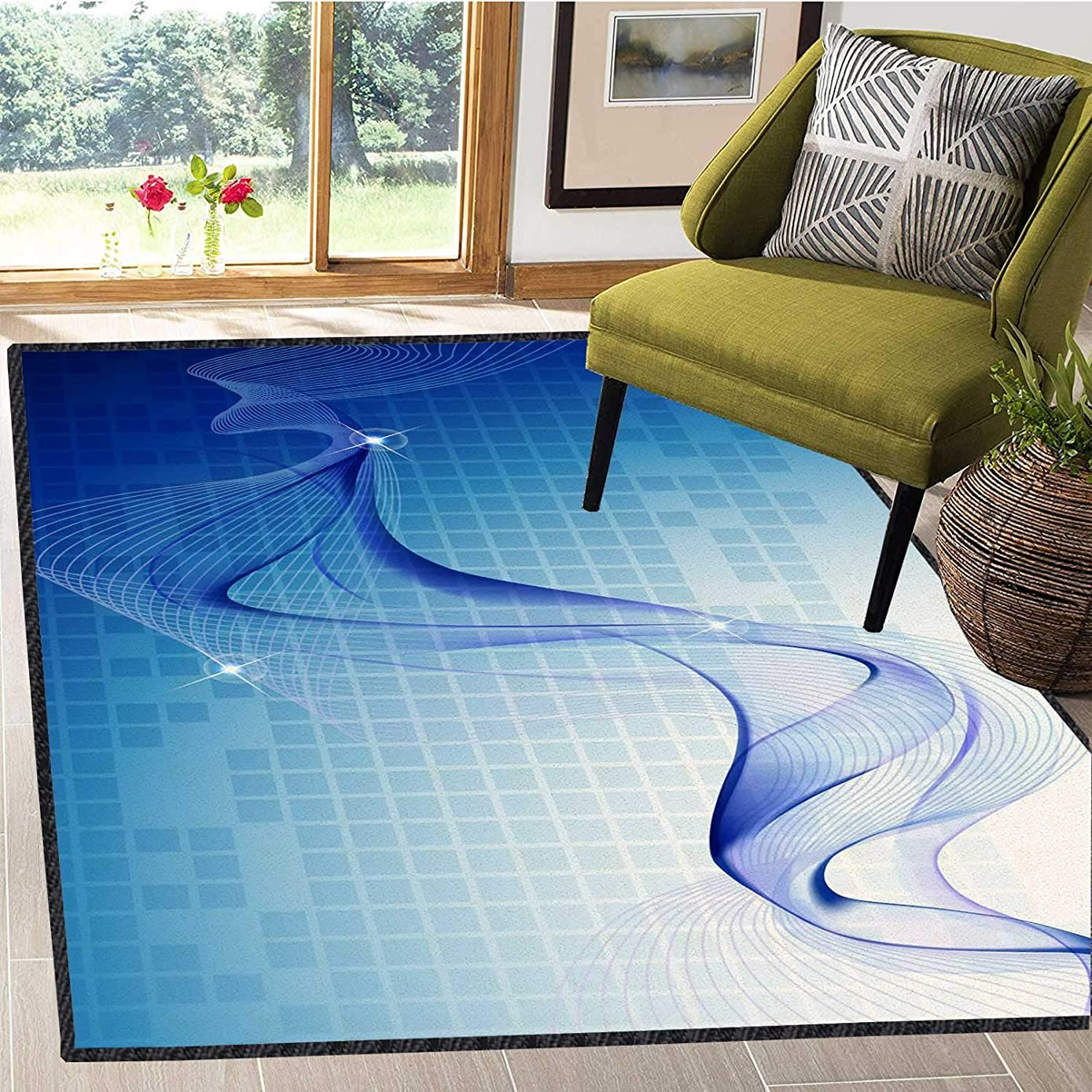 Area Carpet for Kids Room Technology Highlights The Psychedelic Sci Fi Diamond Style Water Absorption and Quick Drying Decorating Your Dreams Multi Color, 6X9 Ft