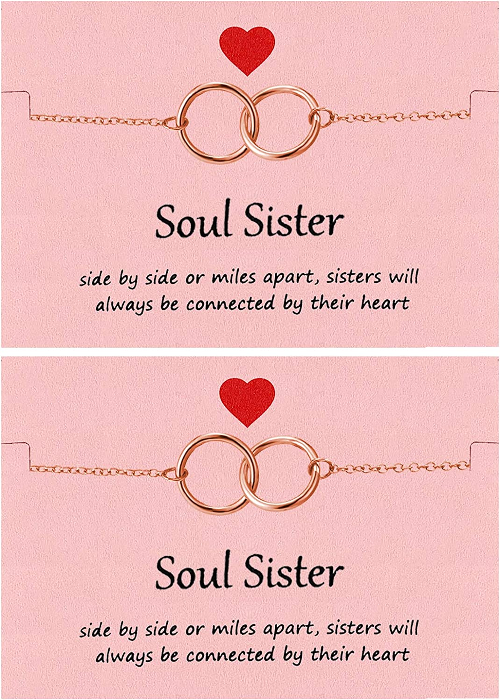 Your Always Charm 2Pcs Sister Bracelets,Interlocking Hearts Bracelet, Best Friend Bracelet Sister Jewelry
