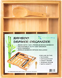 Bamboo Drawer Organizer Expandable Premium 100% Moso Bamboo BONUS SPOON - Multi-purpose Kitchen, Bath Vanity, Office, Crafts - LARGE 7 to 9 compartments for silverware, utensils, cutlery, makeup