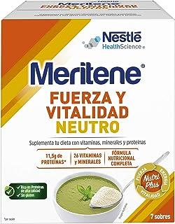 Meritene® FUERZA Y VITALIDAD - Suplementa tu nutrición y refuerza tu sistema inmune con vitaminas. minerales y proteínas - SABOR NEUTRO - Suplemento Alimenticio Estuche (7x50g)