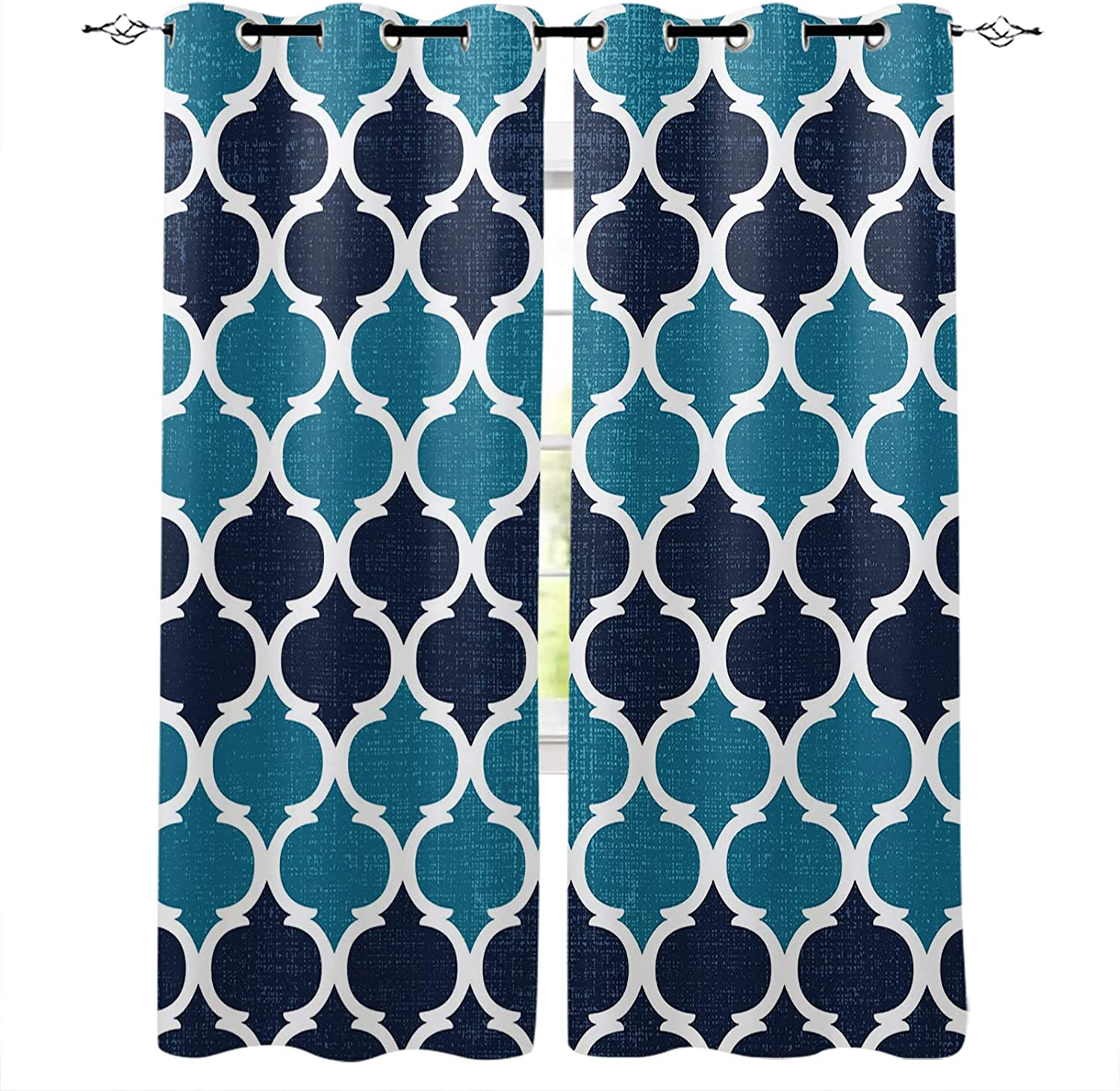 FortuneHouse8 Blackout Ranking TOP20 Curtains Retro Moroccan Geome Design Don't miss the campaign Blue