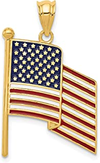 14k Yellow Gold Waving United States American Flag Colored Pendant 32x19mm