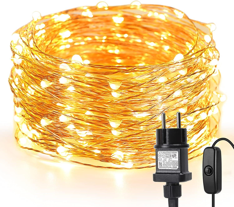 LE 10m 100 LEDs Luces de Hadas Blanco Cálido con Enchufe, Guirnalda de Luces Exteriores Impermeable IP65, Luz de Decoración Alambre de Cobre, Decorar de Fiestas, Arbol de Navidad, Balcón, Jardín etc