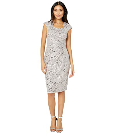 Tahari by ASL Cap Sleeve Sequin Stretch Lace Side Draped Dress (Silver Mist) Women