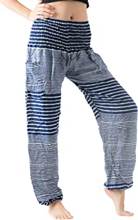 B BANGKOK PANTS Women's Harem Hippie Pants Boho Clothing (Line Blue, One Size)