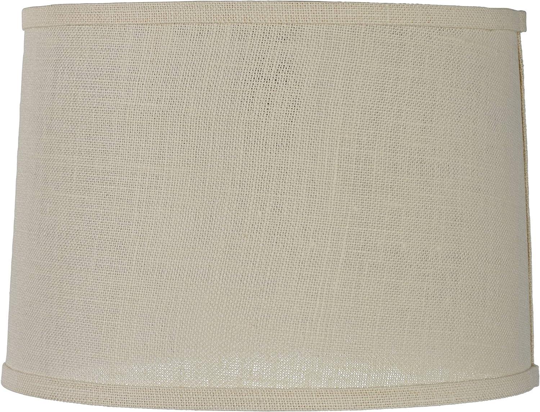 Off-white Burlap Oakland Mall Medium Drum Department store Lamp Shade 13