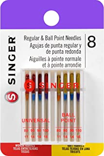 SINGER 04800 Universal Regular Point and Ball Point Sewing Machine Needle, Assorted Sizes, 8-Count