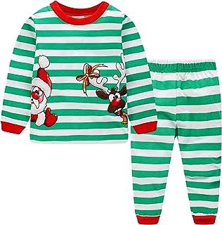 ملابس أطفال للكريسماس وبناتي مخططة لعيد الميلاد وبيج بويز الرنة بأكمام طويلة مجموعة ملابس سانتا كلوز للأطفال باللون الأخضر