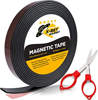Flexible Magnetic Tape - 1/2 Inch x 10 Feet Magnetic Strip with Strong Self Adhesive - Ideal Magnetic Roll Tape for DIY and Craft Projects - Sticky Magnets for Refrigerator and Dry Erase Board