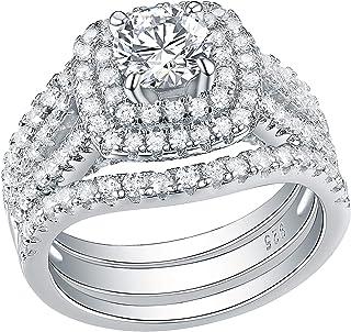 Newshe خواتم زفاف للنساء مجموعة الخطوبة الياقوت الأزرق الفضة الاسترليني الأبيض تشيكوسلوفاكيا 3 قطع الحجم 5-12