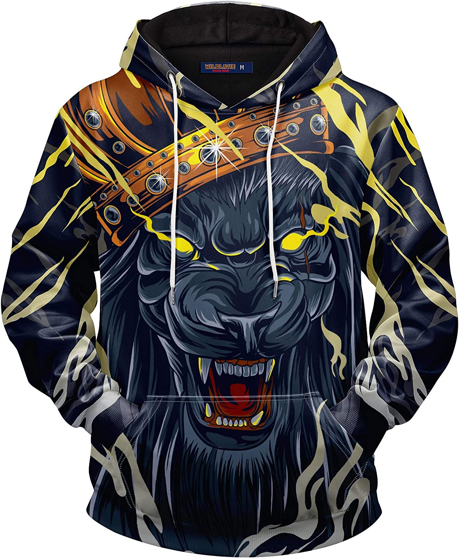 WILDLAVIE 3D Graphic Novelty Pullover Hoodie for Men Women Fashi