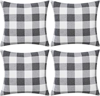 Gysan Classic Retro Checkers Plaids Throw Pillow Covers Decorative Square Pillow Covers Set of 4 Farmhouse Home Decor Cushion Pillowcase for Couch Sofa Bedroom Car,24x24 Inch Grey and White