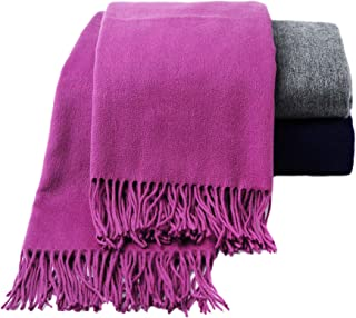 CUDDLE DREAMS Premium Cashmere Throw Blanket with Fringe, Luxuriously Soft (Plum)