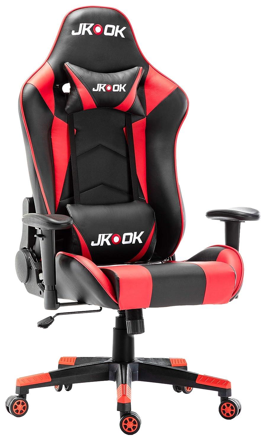 見て曲げる同一のJKOOK ゲーミングチェア オフィスチェア デスクチェア ゲーム用チェア 幅広い目 大きいサイズ ゆったり 高密度定型ウレタン 快適な座り心地 ゲーム用 オフィス リクライニング パソコンチェアーひじ掛け付き ランバーサポート PUレザー HN03 (赤)